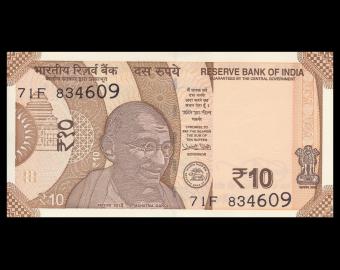 India, P-110e, 10 rupees, 2018