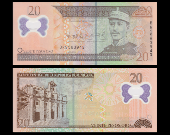Rép Dominicaine, P-182, 20 pesos oro, 2009, polymere