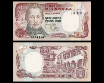 Colombie, P-431Ab, 500 pesos oro, 1993