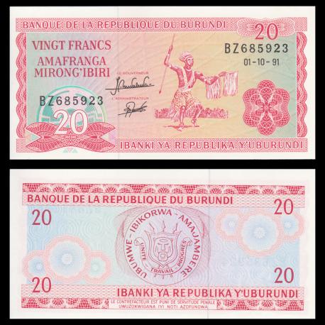 Burundi, P-27c, 20 francs, 1991