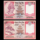 Nepal, lot 2 billets de 5 roupies, 2002 2010