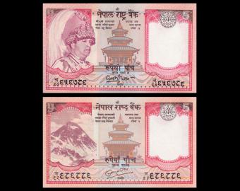 Nepal, lot 2 billets de 5 roupies, 2002 2010