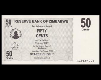 Zimbabwe, P-36, 50 cents, 2006