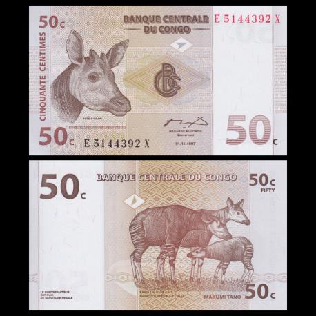 Congo, P-84A, 50 centimes, 1997