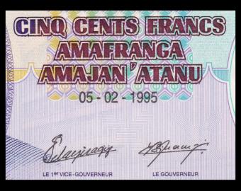 Burundi, P-37A, 500 francs, 1995