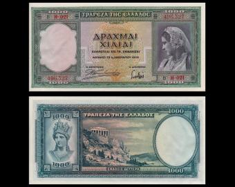 Greece , P-110, 1000 drachmai, 1939, SUP / Ext.Fine