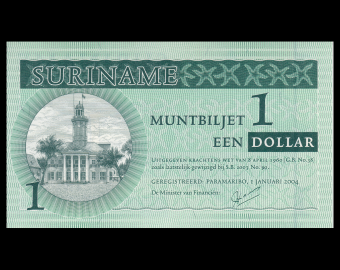 Suriname, Muntbiljet, P-155, 1 dollar, 2004