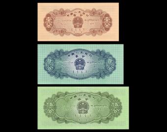 Chine, lot de 3 billets, 1+2+5 fen