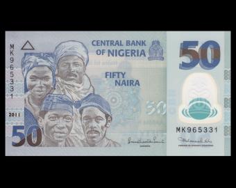 Nigéria, P-40c, 50 naira, 2011, Polymère