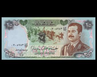 Irak, P-073, 25 dinars, 1986