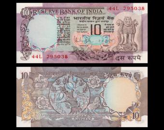 Inde, P-81h, 10 roupies, 1970-90