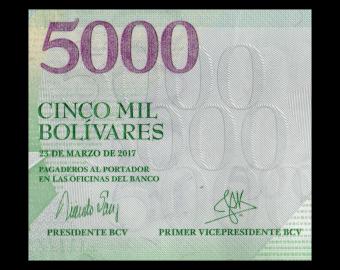 Venezuela, P-097b, 5000 bolivares, 2017