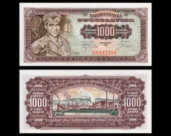 Yougoslavie, P-075, 1000 dinara, 1963