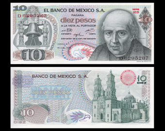 Mexique, P-063h6, 10 pesos, 1975