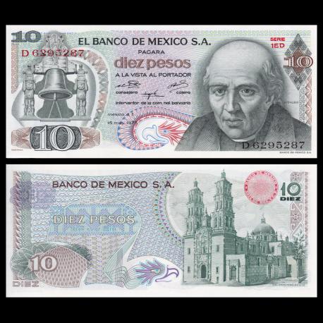 Mexique, P-063h6, 10 pesos, 1975