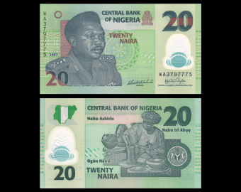 Nigéria, P-34b, 20 naira, Polymère, 2007