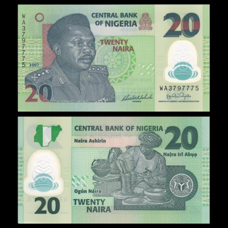 Nigéria, P-34b, 20 naira, 2007, Polymère