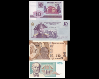 Lot 4 banknotes of 10 : Belarus-Haïti-India-Yugoslavia