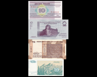 Lot 4 billets de 10 : Bielorussie-Haïti-Inde-Yougoslavie