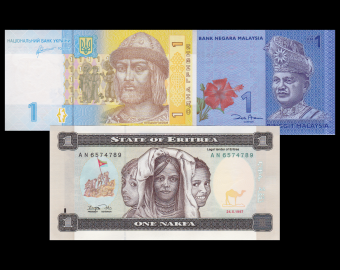 Lot 3 banknotes of 1 : Ukraine-Malaysia-Eritrea