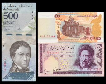 Lot 3 billets : riel-rial-bolivare