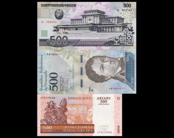 Lot 3 banknotes of 500 : N*rth K*re*-Venezuela-Madagascar