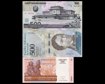 Lot 3 billets de 500 : C*rée N*rd-Venezuela-Madagascar