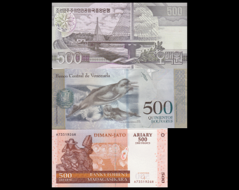 Lot 3 banknotes of 500 : N*rth K*re*-Venezuela-Madagascar