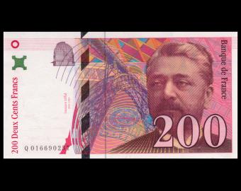 France, P-159a, 200 francs, Eiffel, 1996, PresqueNeuf / AboutUNC