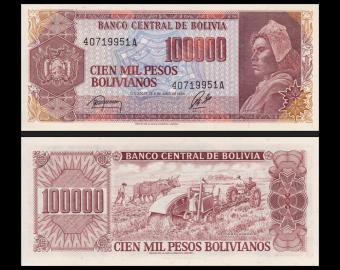 Bolivia, P-171b, 100 000 bolivianos, 1984