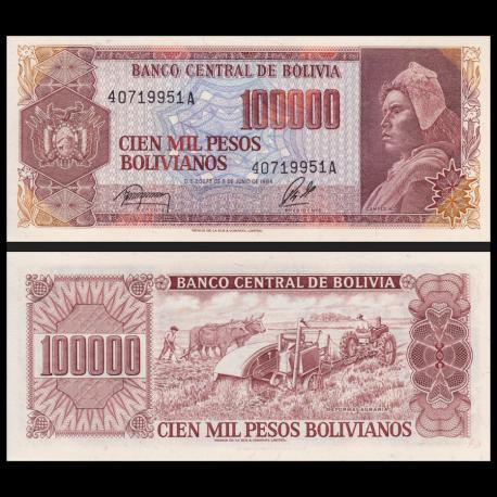 Bolivie, P-171b, 100 000 bolivianos, 1984