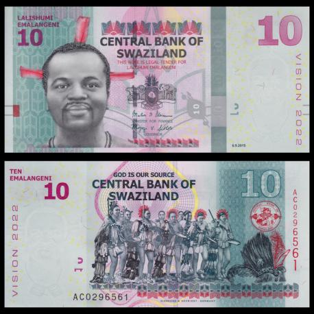 Swaziland, P-41a, 10 Emalangeni, 2015