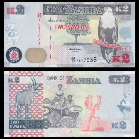 Zambia, P-49a, 2 kwacha, 2012