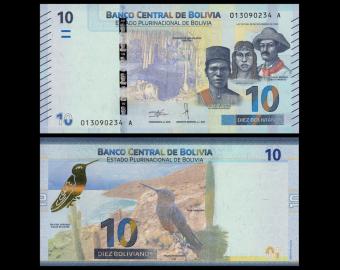 Bolivie, P-new, 10 bolivianos, 2018