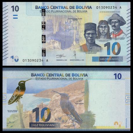 Bolivia, P-new, 10 bolivianos, 2018