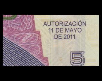 Guatemala, P-122b, 5 quetzales, polymère, 2011