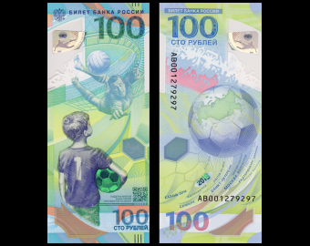 Russie, P-280, 100 roubles, 2018, Polymère, Mondial Football FIFA