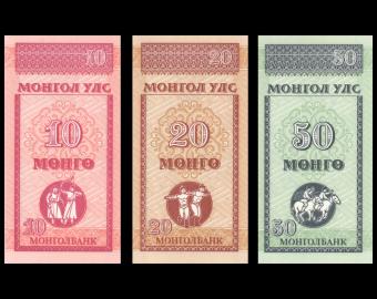 Mongolie, série de 3 billets