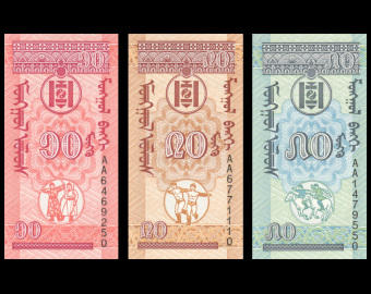 Mongolie, lot de billets, 1993