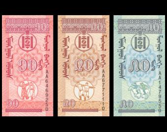 Mongolie, lot de billets, 1993