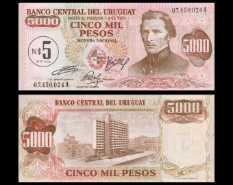 Uruguay, P-57, 5 nuevos pesos, 1975