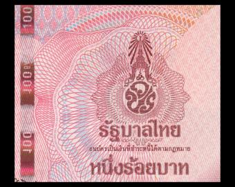 Thailande, P-137, 100 baht, 2018