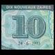 Zaire, P-55, 10 nouveaux zaïres, 1993