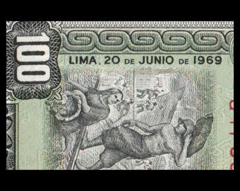 Pérou, P-102a, 100 soles de oro, 1969