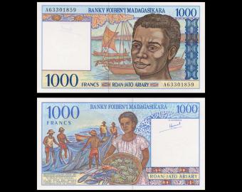 Madagascar, P-076a, 1000 francs, 1994