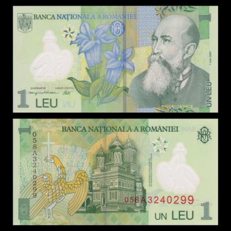 Romania, p-117a, 1 leu, Polymer, 2007