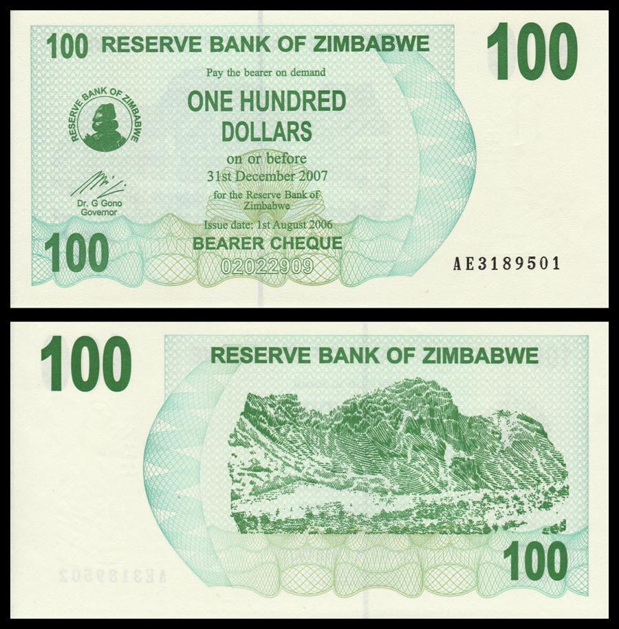 UNC 2006 100 dollars P-42 Zimbabwe