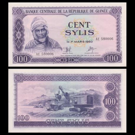 Guinea, P-19, 100 sylis, 1971