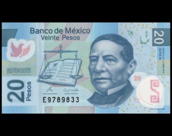 Mexico, P-122hN, 20 pesos, 2010, Polymer, Presque Neuf / A-UNC