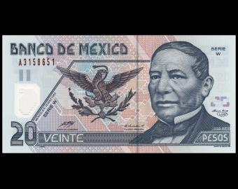 Mexique, P-116d2, 20 pesos, 2003, Polymère